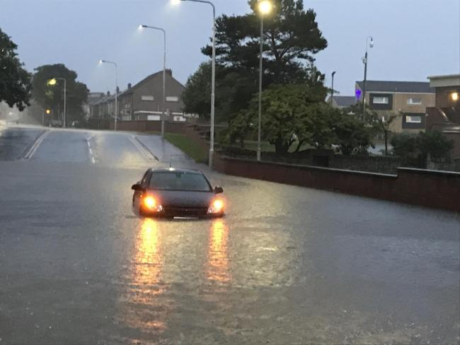 A car stranded in Hilton Road on Saturday night. Pic: Alan Blair