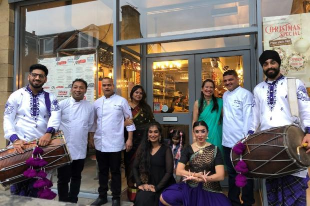 Indian restaurant Dhoom, in Dunfermline's New Row, celebrated its first birthday last week with a party and dancers.