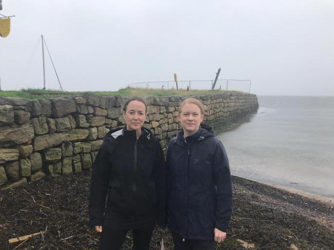 Local environmental campaigner Joanna McFarlane, left, at Limekilns beach with Dunfermline MSP Shirley-Anne Somerville.