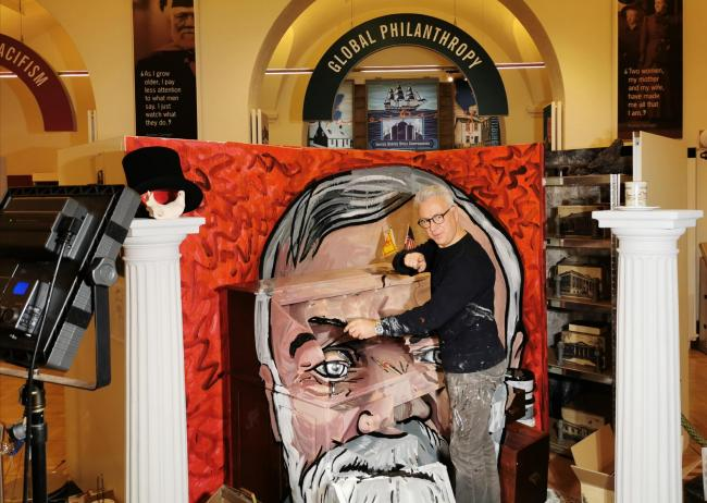 Calum Colvin with his portrait of Andrew Carnegie. Pic: J Douglas Scott BA