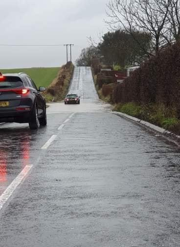 A car stuck in flood water in Grange Road, Rosyth. Pic: Fife Jammer Locations.