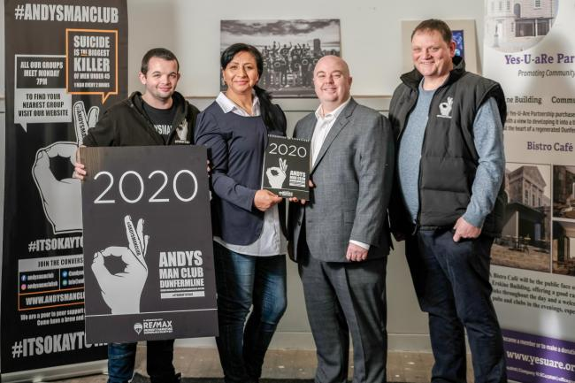 Ryan McKillop from Andy's Man Club Dunfermline, Tatiana Serrano from Yes-U-Are Partnership, Adrian King from REMAX and Stewart Lang from Andy's Man Club Dunfermline. Photo: Jim Payne.