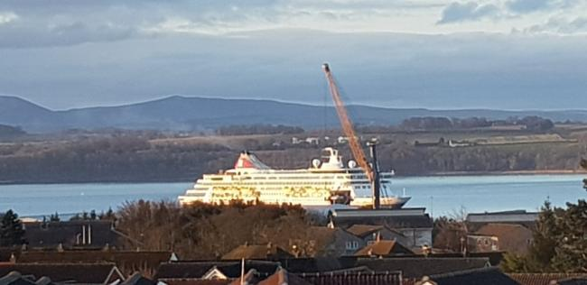 One of the cruise ships that has been given a safe berth on the Forth. Photo: Karen Smith.