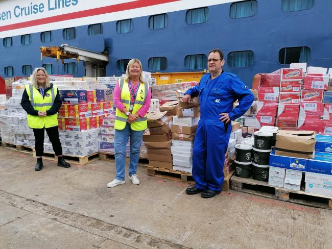 (L-R) Pauline Robertson, Sailors' Society's Leith port chaplain; Teresa McGoldrick, Regional Food Officer Scotland for FareShare; and Robert McDonald, Executive Chef of the Balmoral, Fred. Olsen Cruise Lines.
