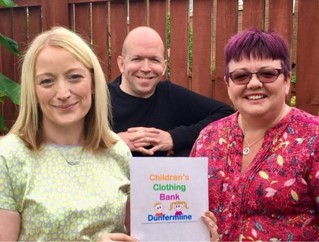 The Children's Clothing Bank Dunfermline trustees Mary-Grace Smith, Craig Smith and Judy Corbett.