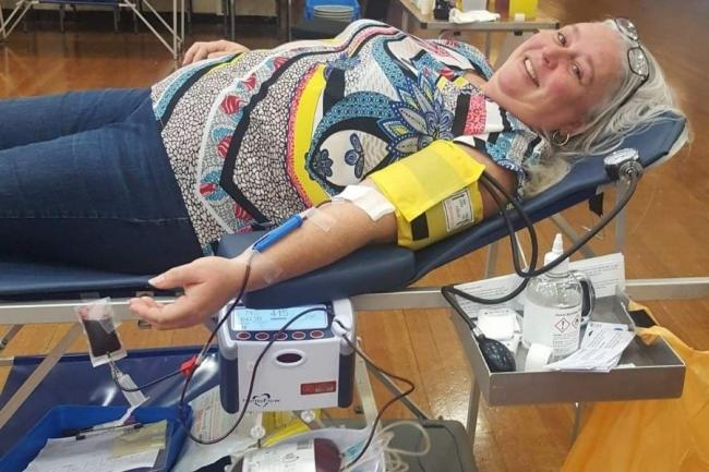 Tracey Cunningham, from Dalgety Bay, donates blood for a 65th time.