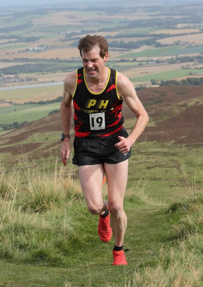 Andrew Wright, picutred at the Falkland Hill Trail Race, finished top of the M40 age category. Photo: Pete Bracegirdle.