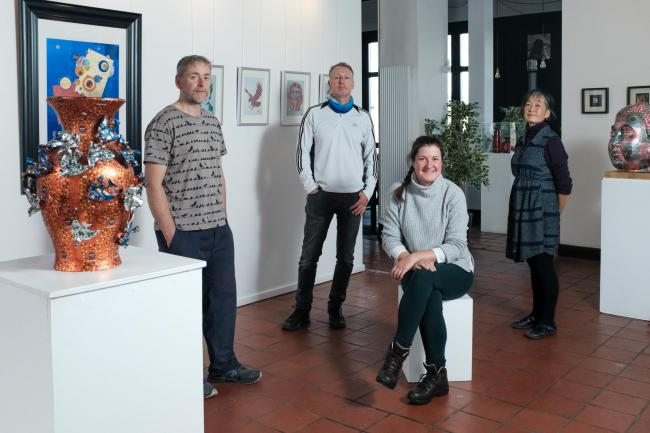 Pictured are artists Robert Mach, Lyndsey Gibb, Simon Ward and Keiko Mukaide. Missing from piucture: Karen Murat. Photo: Jim Payne
