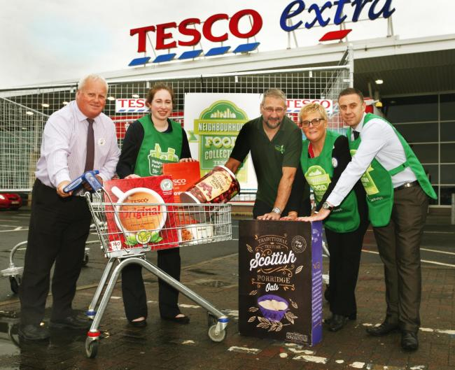 A GIANT shopping trolley visited Duloch's Tesco Extra store on Thursday to mark the launch of Tesco's Neighbourhood Food Collection in Dunfermline.