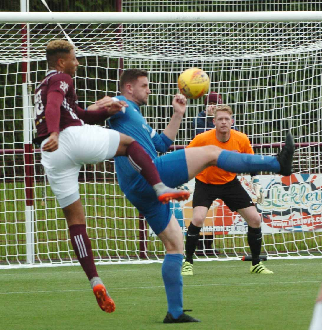 Errol Douglas, in action earlier this season, scored one of Kelty's goals on Saturday.