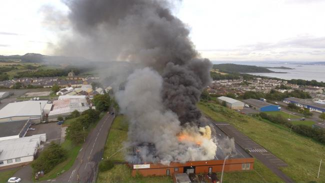 The building in Hillend Industrial Estate went up in flames on Wednesday September 6. Photo: BJB Aerial Photography.