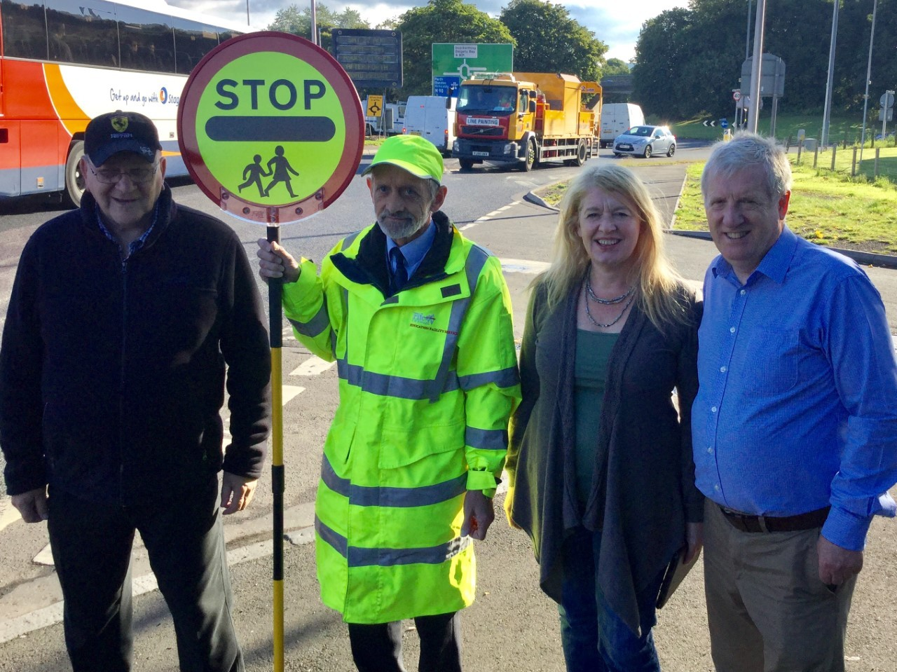 Jim Paterson, Douglas Rowan, former councillor Sharon Wilson and Douglas Chapman MP at Admiralty Road in Rosyth.