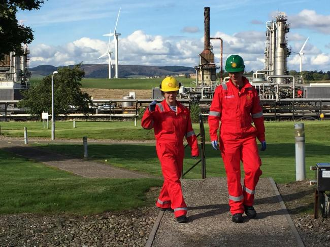 Fife NGL plant manager Teresa Waddington and a Shell graduate take a tour of the site.