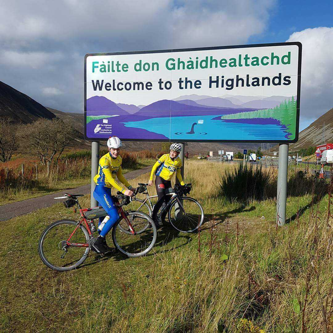 Ben and Charlie at Drumochter during their cycle.
