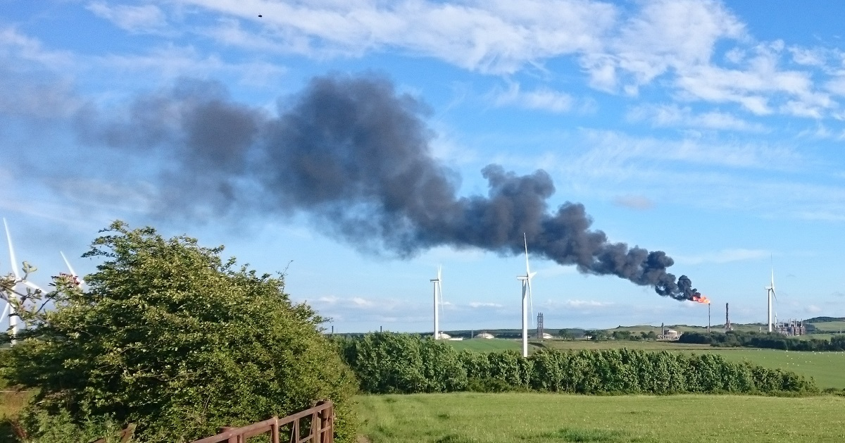 Smoke emerging from the large chimney at Mossmorran last summer.
