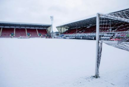 The severe weather left East End Park in a blanket of snow over the weekend. Photo: Dunfermline Athletic FC.