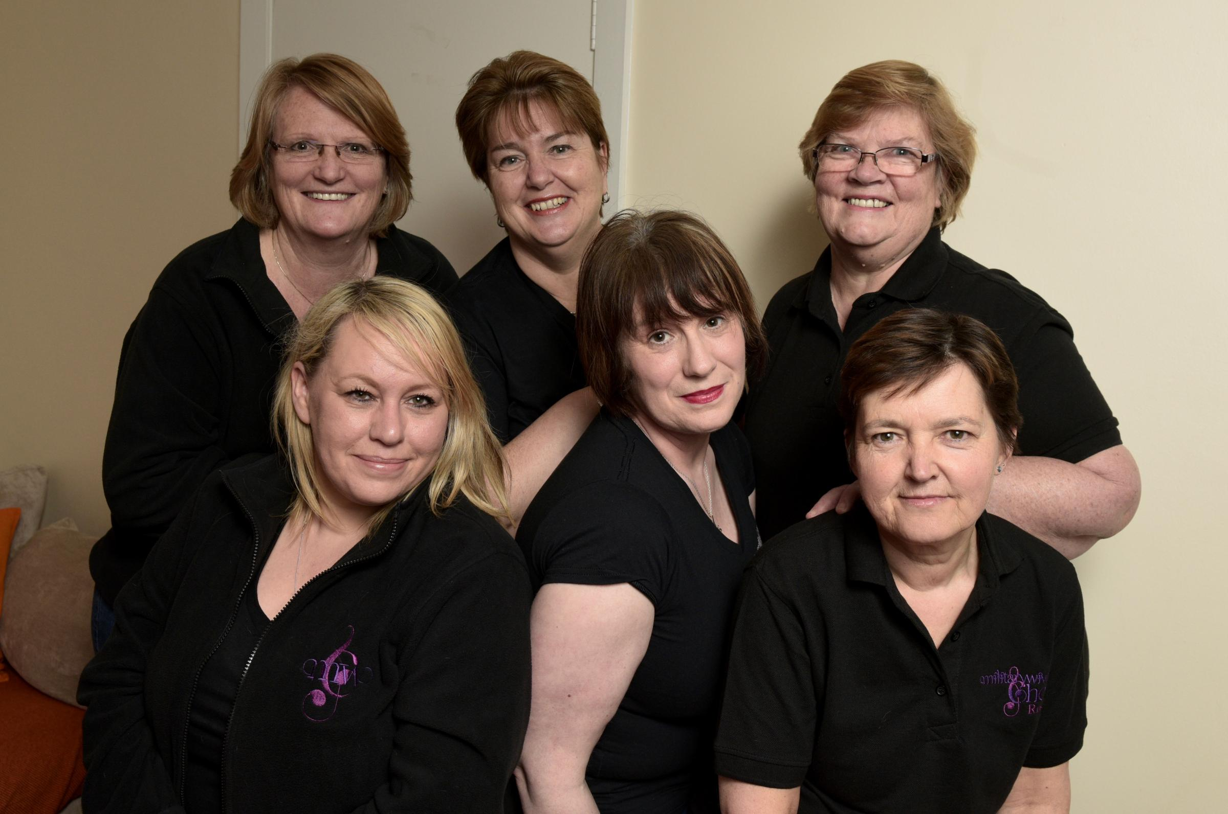 Ladies of Rosyth Military Wives Choir; Lesley Kay; Jane Oag; Karyn Aygun; Elaine Grant; Lorna Ashworth and Nicola Finlay. Photo: Jim Payne