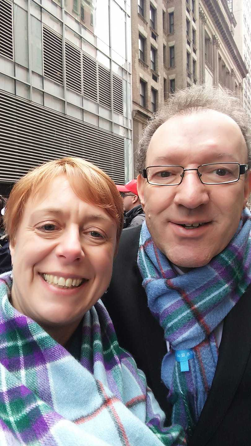 Graham's wife Rebecca with designer of the World Peace Tartan shawl, Victor Spence.
