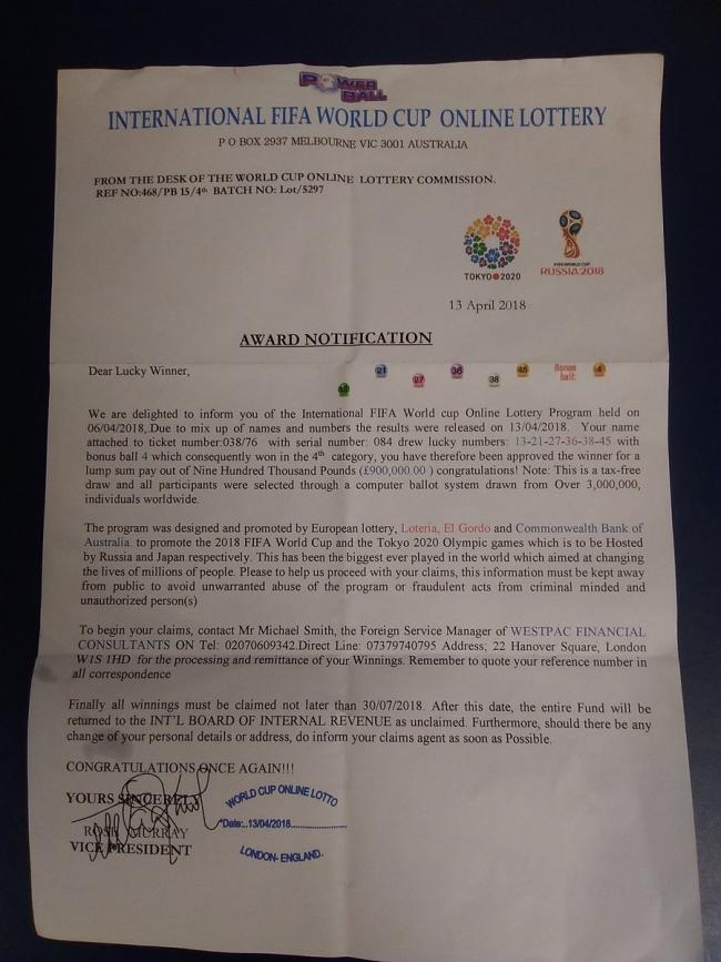 Police warn West Fifers of FIFA World Cup lottery scam