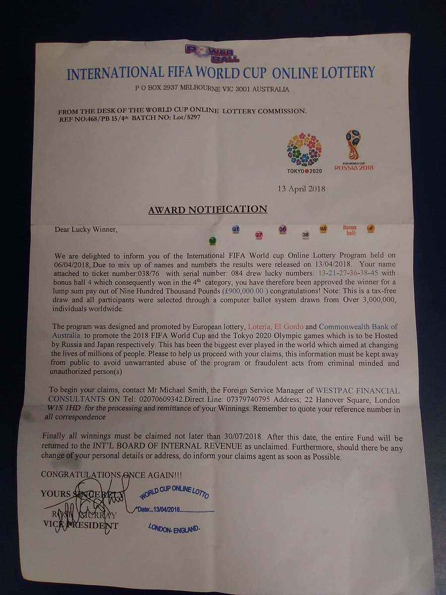 The FIFA World Cup lottery scam letter. Photo: South West Fife Police Twitter.