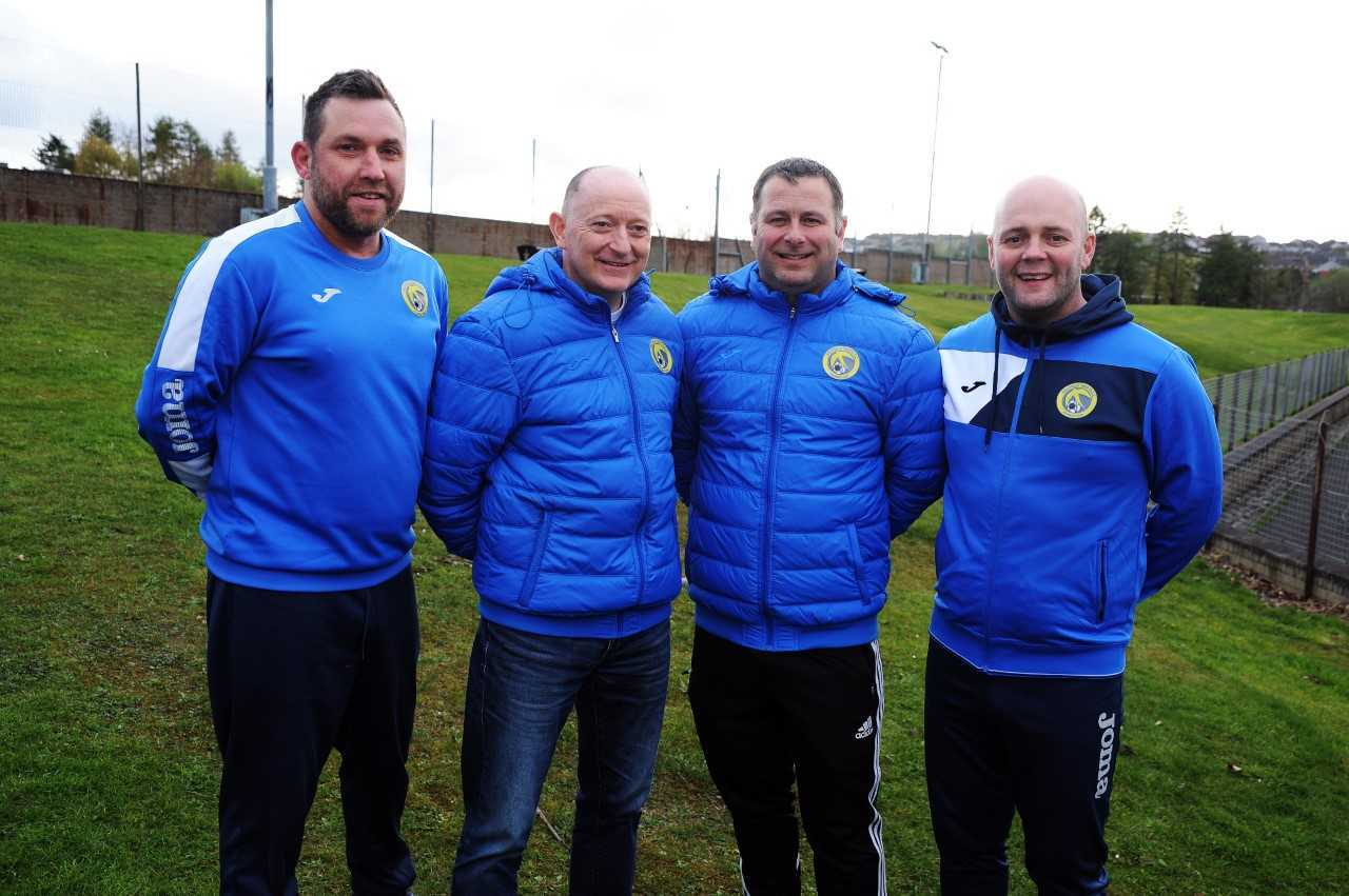 The Swifts' senior team's manager Lee Richardson and assistant John Steel with chairman Craig Reid and vice-chairman Barry Tillier. Photo: Dave Wardle.