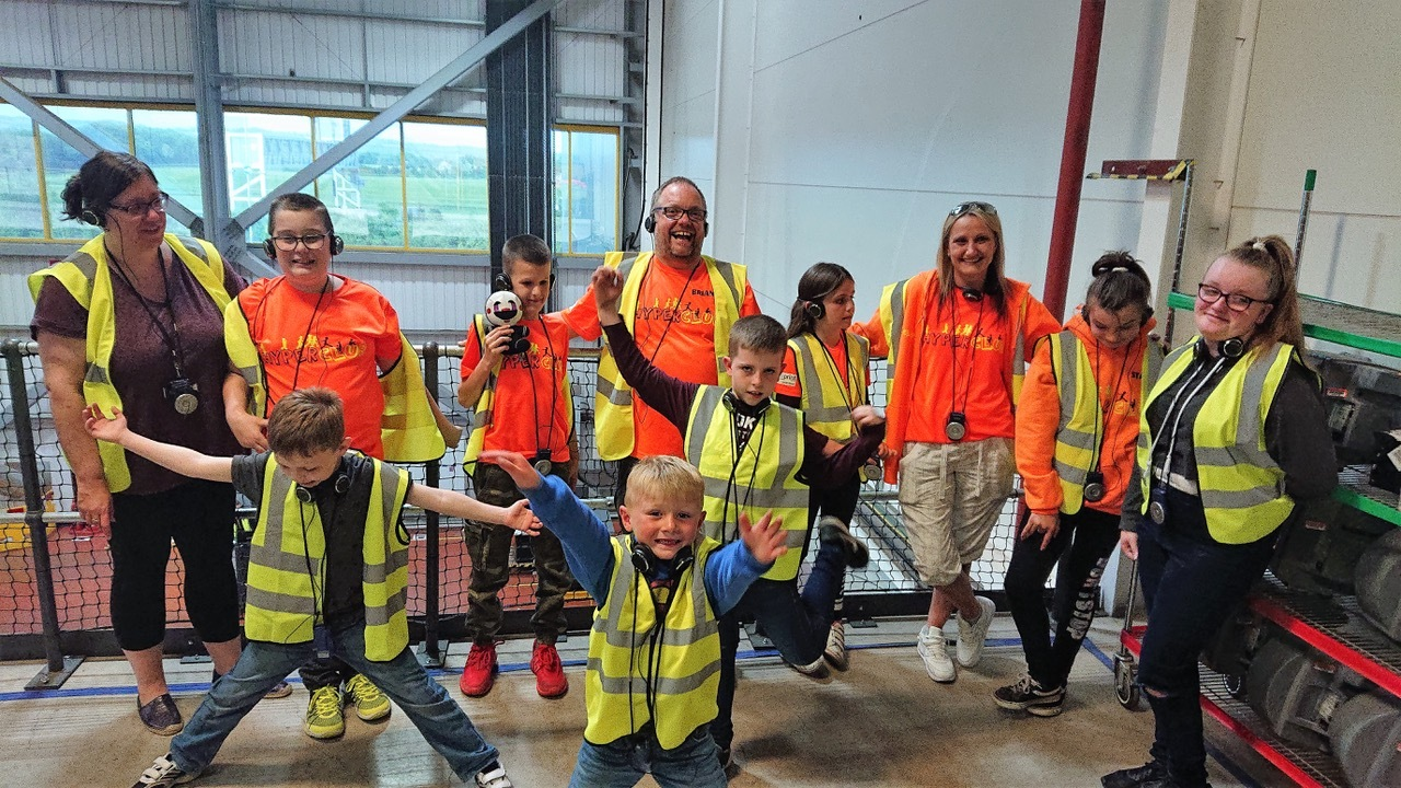 Staff and children from Hyper Club visited Amazon's site in Dunfermline.
