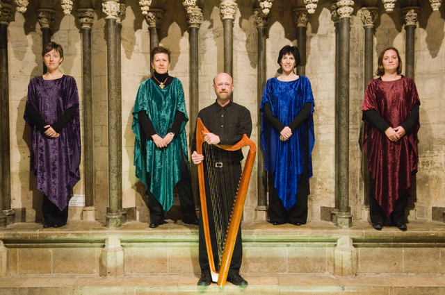 Medieval music group Canty who are performing in the Abbey Church of Dunfermline.
