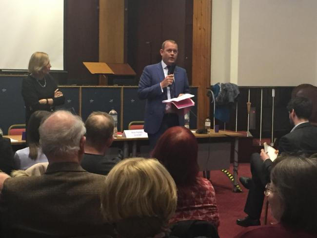 ScotRail boss Alex Hynes at a public meeting organised by Lesley Laird MP.