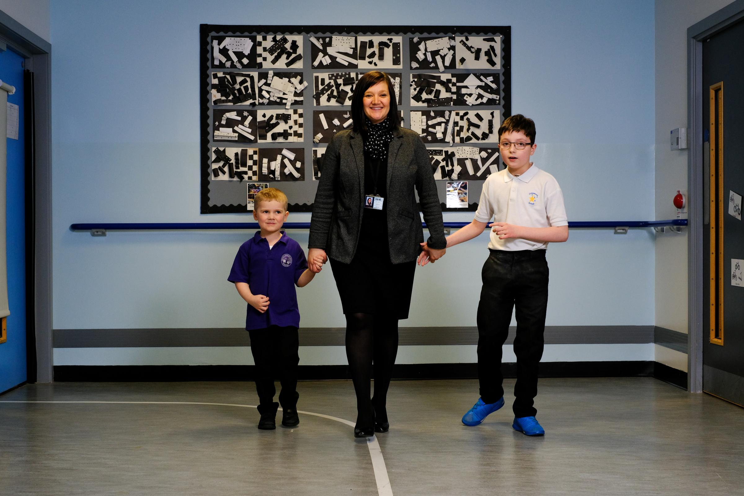 New headteacher Laura Spence with Harris McCreadie (Duloch) and Adam Jackson (Calaiswood). Photo: Jim Payne.