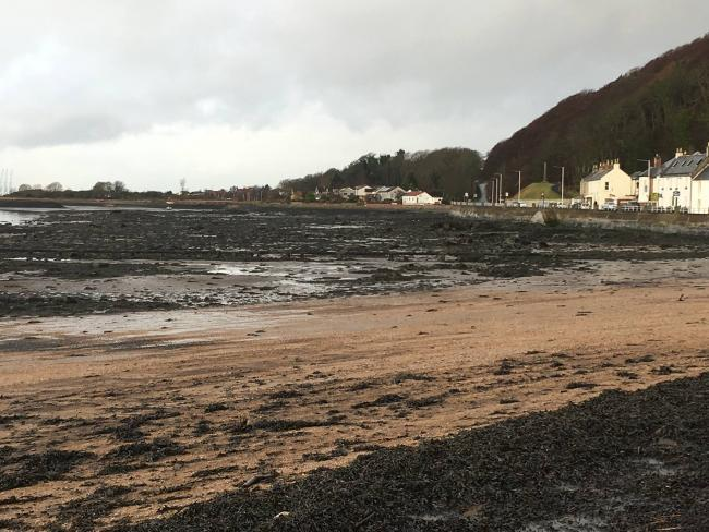 Limekilns beach after it was affected by an oil spill earlier this year.