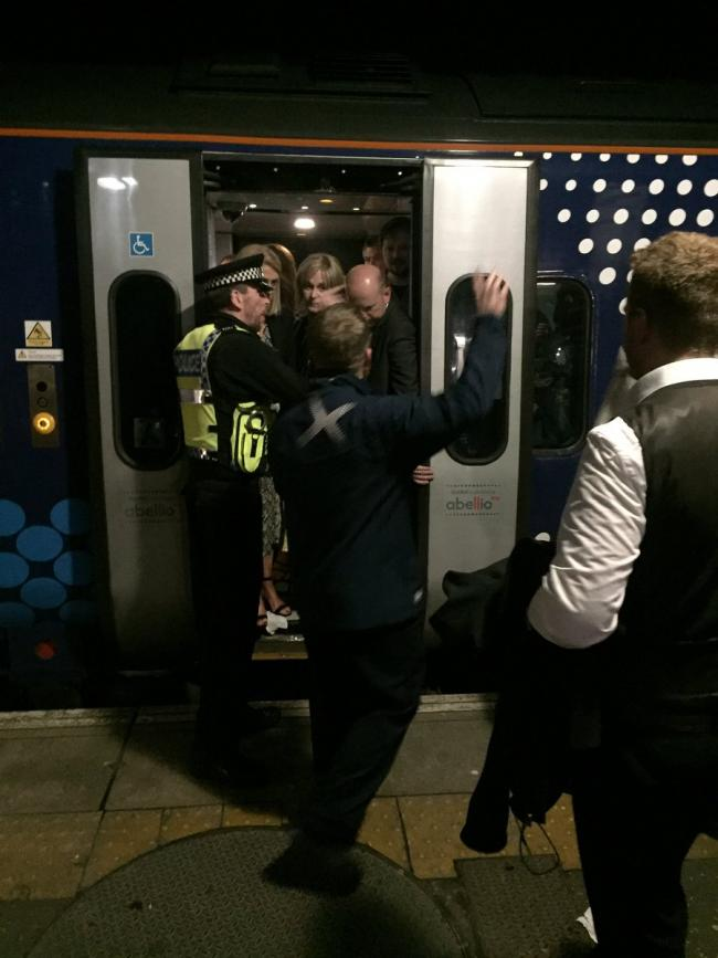 Passangers were told to leave the train to Dundee because of overcrowding on Saturday night. Twitter: Paul Avinou